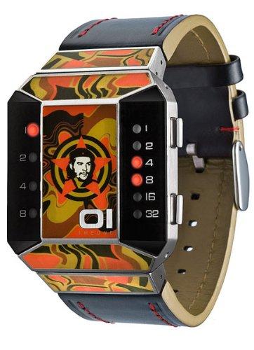 01TheOne Unisex SC114R1 Split Screen Art Edition Orange LED Black Leather Watch