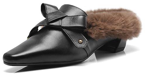 SimpleC Calentar Piel de Conejo de imitación Arco Plano Ponerse Mocasines Mules Zapatos de tacón bajo Mulas Neg39: Amazon.es: Zapatos y complementos