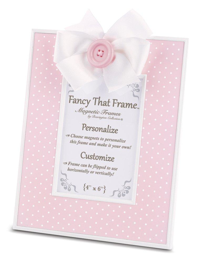Bearington Fancy That Frame, Pink Pin Dot Magnetic Picture Frame 4x6 Bearington Collection