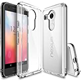 Nexus 5X Case, Ringke [Fusion] Clear PC Back TPU Bumper w/Screen Protector [Drop Protection/Shock Absorption Technology][Attached Dust Cap] for LG Google Nexus 5X - Clear