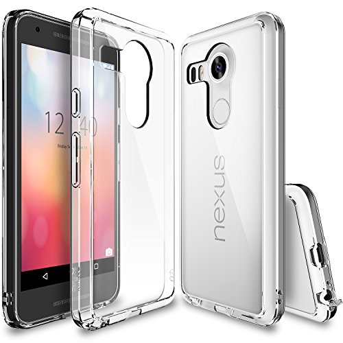 Nexus 5X Case, Ringke [Fusion] Clear PC Back TPU Bumper w/ Screen Protector [Drop Protection/Shock Absorption Technology][Attached Dust Cap] For LG Google Nexus 5X - Clear