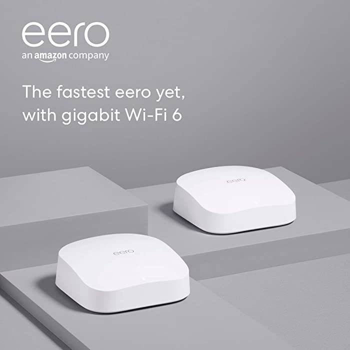 Introducing Amazon eero Pro 6 tri-band mesh Wi-Fi 6 system with built-in ZigBee smart home hub (2-pack)