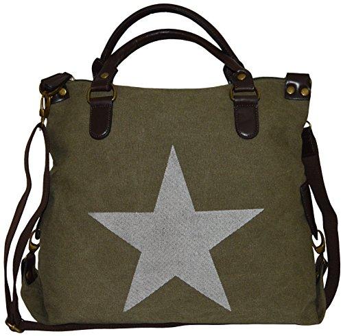 Hombro Bolsa de la compra bolsa de lona Estrella Stars Print Canvas piel sintética Bandolera Bolso Bag armygrün