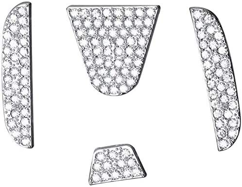 MAXDOOL Car Interior Bling Steering Wheel Accessories for Honda Accessories Parts Bling Civic Accord Fit CRV HRV Pilot Odyssey Clarity Covers Interior Decoration Trim Women 3D Rhinestone Decals Cover