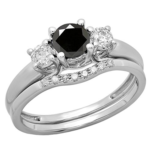 (Dazzlingrock Collection 1.12 Carat (ctw) 14K Round Black & White Diamond Bridal 3 Stone Ring Set, White Gold, Size 7)