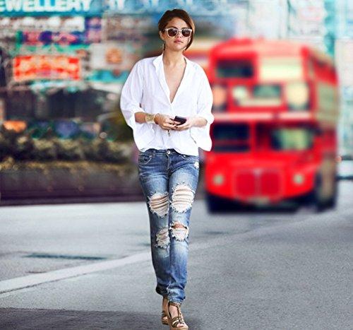 Azul Rotos Agujeros Pantalones Jeans Pantalones Mujeres Flacos Vaqueros Elásticos Rasgados Skinny Largos WanYang 4STx1S