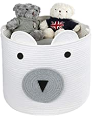 """Cotton Rope Storage Basket with Cute Bear Design, Gift Basket, Pets Toy Basket, Laundry Basket with Large Capacity Decorative Basket Organizer for Toys, Blanket, Towels, Clothes, 16""""(D) x 14""""(H)"""