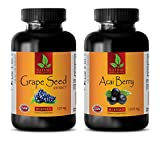 Product review for energy vitamins - ACAI BERRY - GRAPE SEED EXTRACT - grape seed oil for face - (2 Bottles Combo)