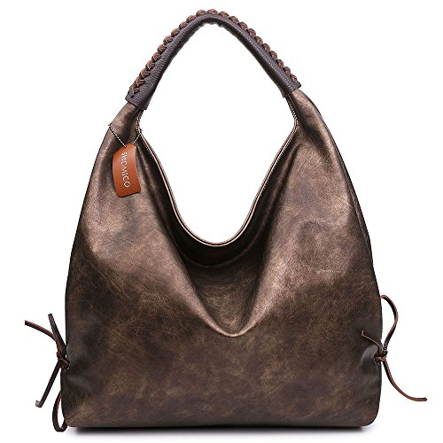 Hobo Bags For Women Shoulder Handbags Ladies Large Fashion Vintage Purse Metallic Color (Brass New) (Purse Handbag Metallic)