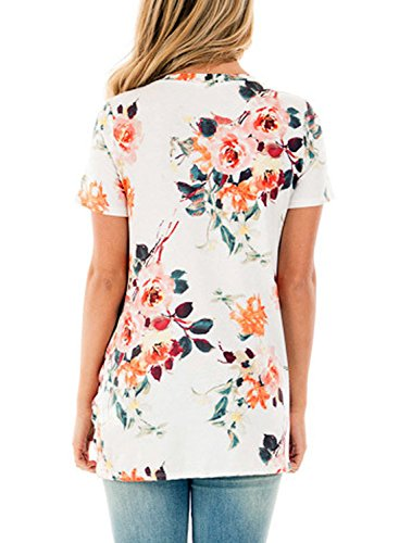 Dokotoo Womens Summer Sexy Fashion Floral Tops and Blouses for Juniors White Large by Dokotoo (Image #2)