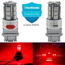 2-Pack 3157 3047 3057 4114 Extremely Bright Red LED Light,12V-DC AMAZENAR Imported 5050 Chipset 18 SMD 3056 3156 Base Dimmable Replacement For Tail Reverse BackUp Bulb Brake Light Parking Lamps