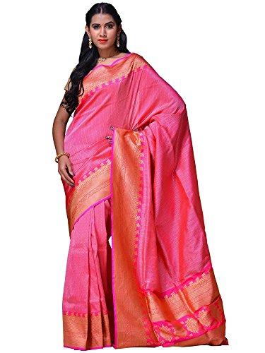 Uppada Women's Banaras Silk Handloom Saree With Border Design Pink