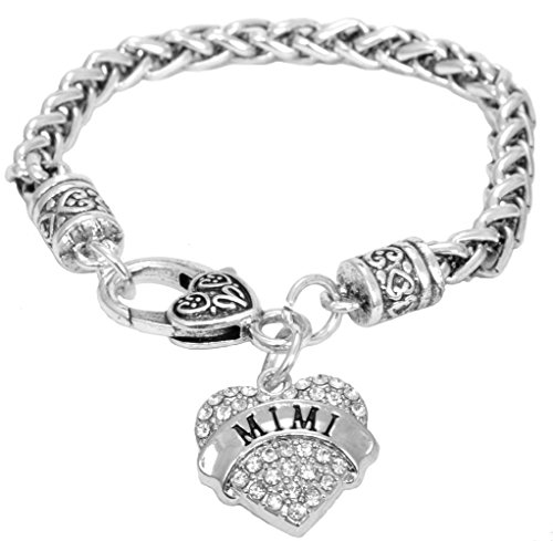 Mimi Bracelet Engraved Gift Jewelry Mimi Crystal Adorned Heart Shaped Pendant Lobster Claw Bracelet Gift Mom Grandma Colorless