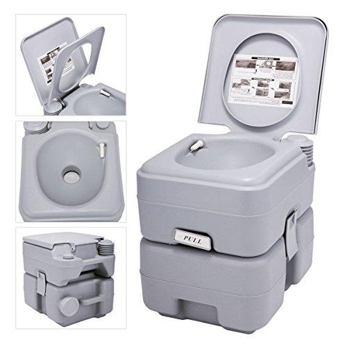 JAXPETY 5 Gallon 20L Flush Porta Potti Outdoor Indoor Travel Camping Portable Toilet for Car, Boat, Caravan, Campsite, Hospital (20L Cold Gray)
