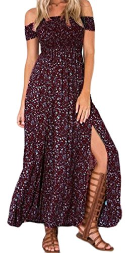 Swing Cruiize Off Backless Slit Wine Side Dress Shoulder Beach Print Womens Red 00Uwqra