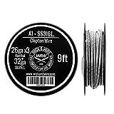 Clapton Wire - Heat Resistance Wire - 26ga x3 Kanthal, 32ga SS316L - 9 ft