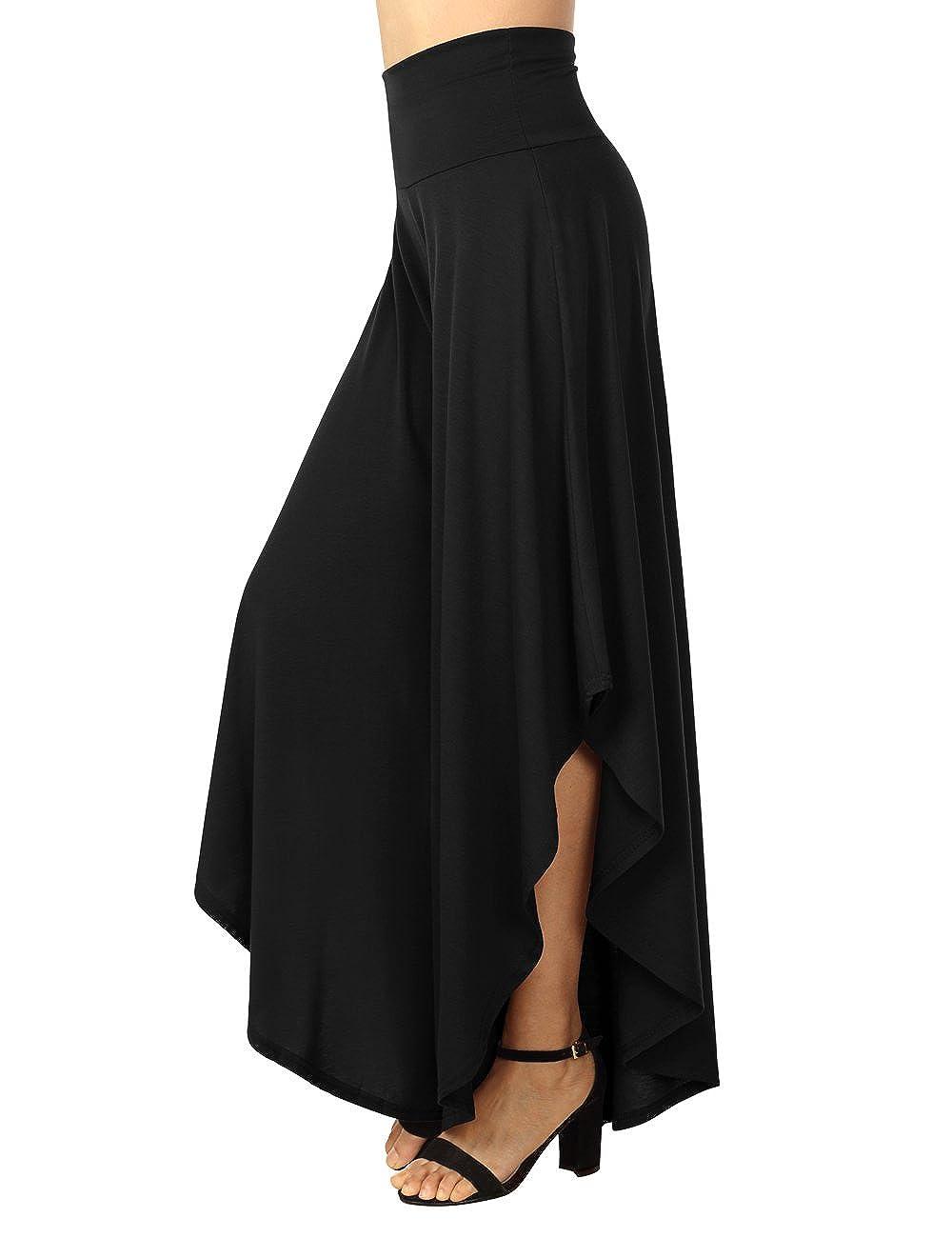 BAISHENGGT Women's Layered Wide Leg Flowy Palazzo Pants 3/4 Length High Waist