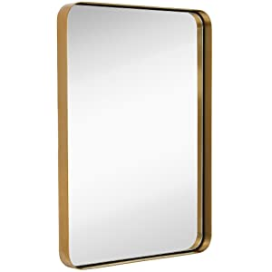 """Hamilton Hills Contemporary Brushed Metal Wall Mirror   Glass Panel Gold Framed Rounded Corner Deep Set Design   Mirrored Rectangle Hangs Horizontal or Vertical (22"""" x 30"""")"""