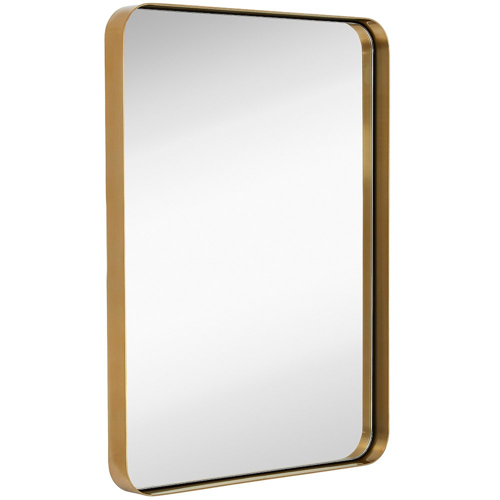 Contemporary Brushed Metal Wall Mirror | Glass Panel Gold Framed Rounded Corner Deep Set Design | Mirrored Rectangle Hangs Horizontal or Vertical (22'' x 30'')