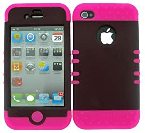 BUMPER CASE FOR IPHONE 4 SOFT HOT PINK SKIN HARD RUBBER COATED BROWN COVER by runtopwell