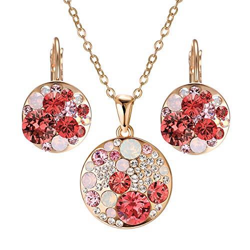 Rose Gold Coloured Costumes Jewellery - vogem 18K Rose Quartz Jewelry Set