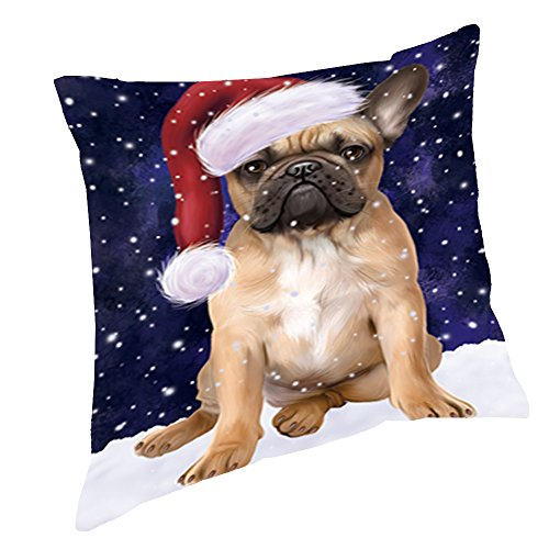 Pillow Santa Bulldogs (Let it Snow Christmas Holiday French Bulldog Dog Wearing Santa Hat Throw Pillow D455 (18x18))
