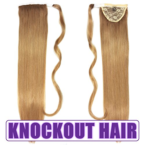 "Human Hair Ponytail Extension Wrap 20"" 100% Real Remy Premium Grade AAAAA 80 Grams Long Straight Human Hair Silky Soft by Knockout Hair (#07B Dark Blonde)"