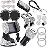 Dyshuai 21 Pack Bling Car Accessories Set for Women Girls,Bling Car Phone Holder Mount,Bling Car Hook Backseat,Bling Dual USB Charger, Tire Valve Caps, Bling Glasses Cup Holders Keychain (White) (Color: White)