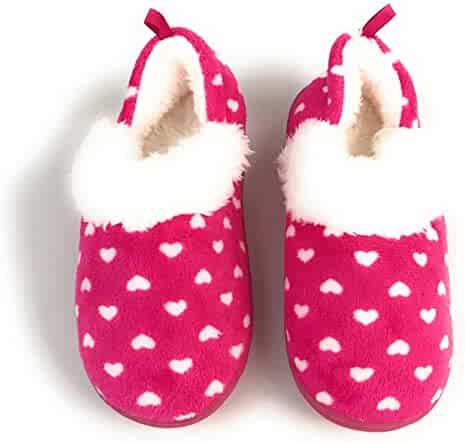ae58c0c32241 Unbranded Girls and Toddler Girls Aline Heart Polka Dot Slippers With Faux  Fur Lining