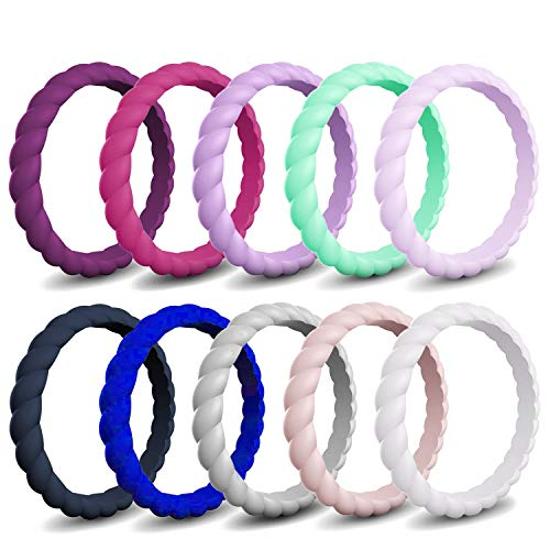 Mokani Silicone Wedding Ring for Women, 10/4/1 Pack Thin and Braided Rubber Band, Fashion, Colorful, Comfortable fit, Skin Safe ()
