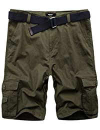 Wantdo Men's Classic Loose Fit Twill Cargo Shorts With Belt