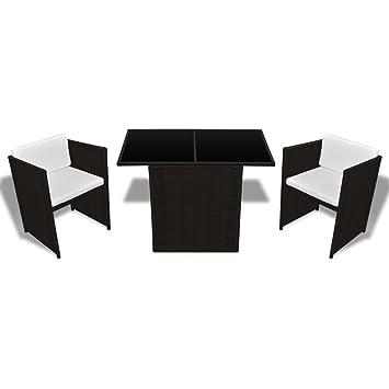 Luckyfu questo Juego Mesa sillas de jardín 7 Piezas de Polirratán ...