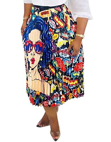 Choichic Women's High Waist Pleated Skirts - Casual Summer Multicolor Elastic Waist Swing A-Line Pleated Midi Skirt X-Large Multicolor-5 ()