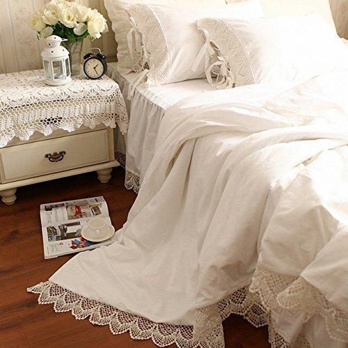 多色選択 アンティークレース綿100%掛け布団カバー+枕カバー2枚 ホワイト セミダブル B072V3W3PK セミダブル|ホワイト ホワイト セミダブル