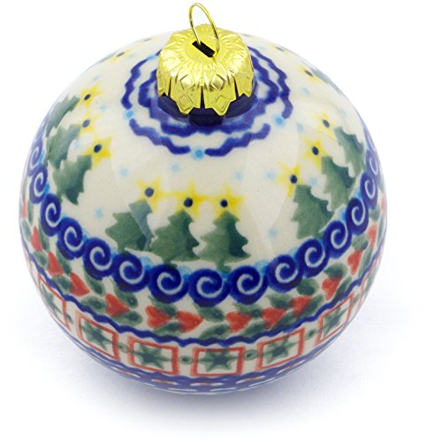 Polmedia Polish Pottery Polish Pottery 4-inch Ornament Christmas Ball Signature UNIKAT + Certificate of Authenticity