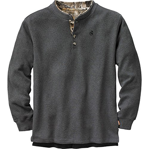 Mens Summit Double Collar Henley Charcoal Heather X-Large Tall ()