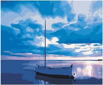 Peinte A La Main Bleu Ciel Dessin Par Nombres De Bricolage Mer Bateau Peinture Travail A La Main De Cuadros Decoracion Peinture A L Huile Art Coloriage Decor A La Maison Amazon Fr Cuisine