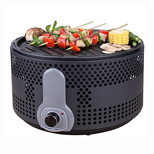 Portable Smokeless Charcoal Electric BBQ Grill Compact Barbecue Grill for Backyard Camping Picnic Party with Removable Turbo Fan Travel Bag Black by Baigio Woman