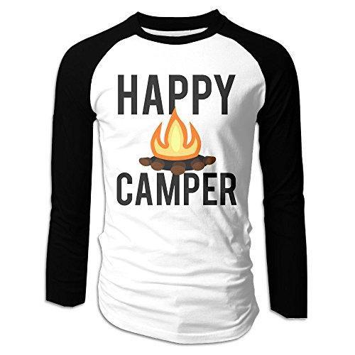 Puppylol Men's Campfire Happy Camper Long Sleeve Raglan Baseball Jersey M