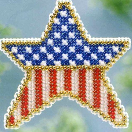 Patriotic Star Beaded Counted Cross Stitch Kit MH183101 Mill
