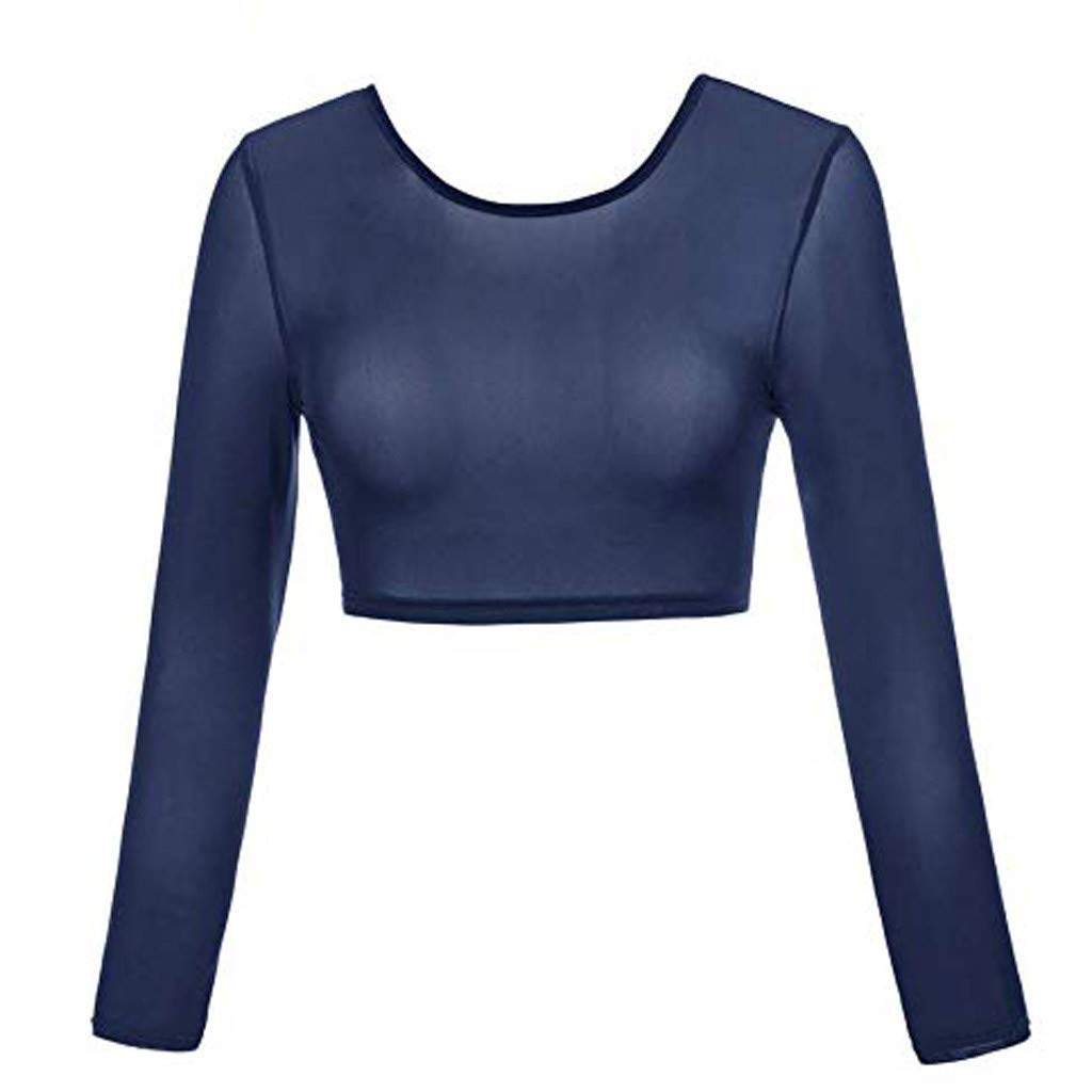 Woman Tops WNGO New Plus Size Seamless Arm Shaper Short Cropped Navel Mesh Cardigan Hot Underwear Long-Sleeved Bottoming Tops Plus Size Comfort Perfectly Shape Your arms