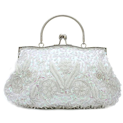 Belsen Women's Wedding Seed Bead Evening Bags (Color white)