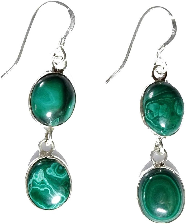 Hermosos pendientes hechos a mano en plata de ley 925 para mujeres y niñas, piedras preciosas naturales de malaquita verde cuelga el pendiente del diseñador, joyería de moda.