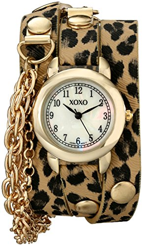 XOXO Women's XO5624  Cheetah Patterned Band with Chains Accent Double Wrap Watch (Women Cheetah Watches For)