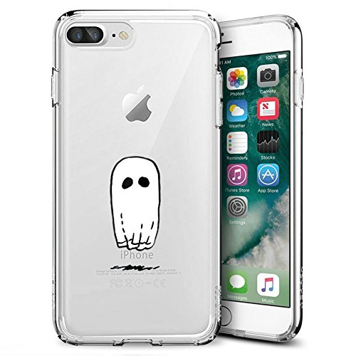 Creative Designs Spooky Ghost Sheet Crystal Transparent Anti-Scratch Phone Case for iPhone 7 Plus 8 Plus -