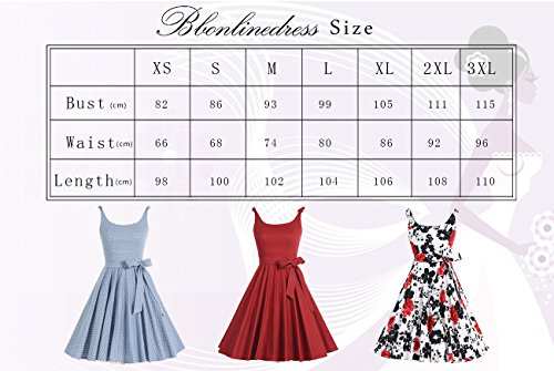 Bbonlinedress Vestidos Retro Vintage Rockabilly 1950 Tirantes Finos Blue white Dot