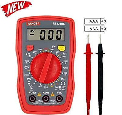RANGE RE831BL Palm Size Digital Multimeter Handheld AC DC Voltage Ohm Tester Meter (Red)