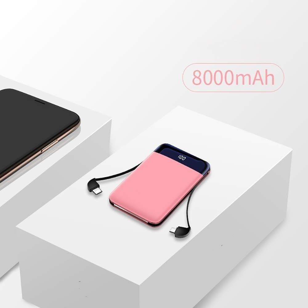 VIVIANE 8000 MAh Comes with Cable, Light and Lightweight Charging Treasure, Mini Portable Mobile Power, Mobile Phone Accessories (Color : Pink) by VIVIANE