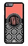 iPhone 6 Case, iPhone 6S Case, iZERCASE Custom Monogram Personalized Salmon and Black Damask Pattern (SALMON)
