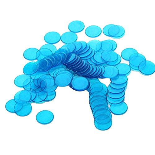 Lovoski 約100個 3cm プラスチック ビンゴチップ ゲーム ポーカーチップ おもちゃ ビンゴ用品 全6色  - 青